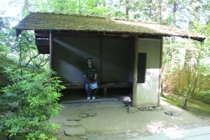 James in a meditation hut in the Japanese Gardens in Portland, Oregon, May 2014