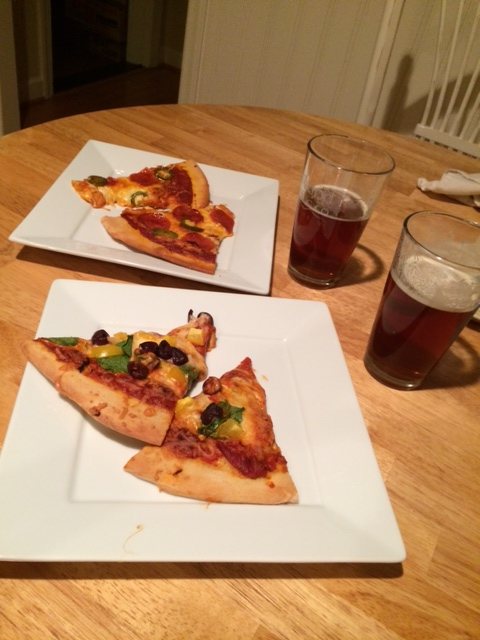 Homemade pizza and Charlotte beer!
